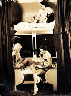 i would love to have this pic blown up of show girls on a train in the 1930's on my wall!