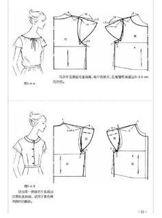 tipo de manga - Favland.org Dress Sewing Patterns, Blouse Patterns, Clothing Patterns, Collar Pattern, Top Pattern, Sewing Hacks, Sewing Tutorials, Pola Lengan, Sewing Sleeves