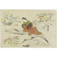 奥村政信: Hi Chobo(Woman on Flying Crane) - ミネアポリス美術館