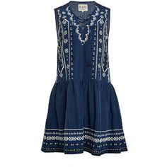 Sea Lace Up Combo Tank Dress ($365) ❤ liked on Polyvore featuring dresses, mini dress, sleeveless v neck dress, blue mini dress, tank top dress and sleeveless dress