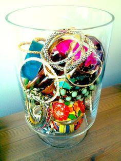 jewelry organization bracelets in vase