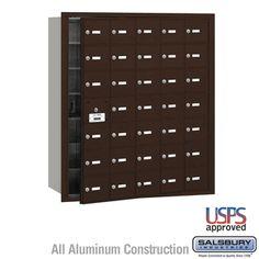 35 Door (34 Usable) 4B  Horizontal Mailbox Bronze Front Loading A Doors USPS Access