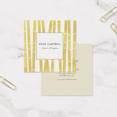 Modern Gold Bamboo Grove Square Business Card - stylist business card business cards cyo stylists customize personalize
