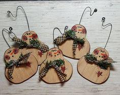 Hand Painted Wood Snowman Ornament, Primitive Snowman Ornament, Painted Snowman, Country Snowman, Primitive Christmas Decor, Wood Ornament