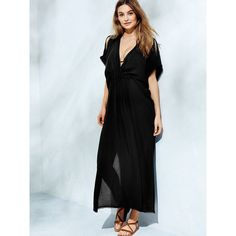 Victoria's Secret Double-V Caftan ($90) ❤ liked on Polyvore featuring women's fashion, tops, tunics, black, sheer caftan, caftan tops, kaftan tops, black top and sheer black tunic