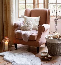Create your own charming country retreat this season using pink, cream and natural colours within our Rustic Romance trend. Elegant armchairs, cushions and sheepskin fur rugs will help to make your room perfect this Autumn - Dunelm Living Room Decor, Living Spaces, Bedroom Decor, Bedroom Furniture, Cosey Living Room, Cosy Living Room Small, Bedroom Armchair, Cottage Shabby Chic, Cosy Home