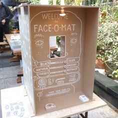 """Milan 2013: Spazio Rossana Orlandi - Face-o-Mat. """"Post $5 of special Face-o-mat currency through the slot in the front, adjust the dials, and wait for your portrait."""""""