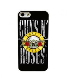 Iphone 5 Hard Case with Gun and Rose Print