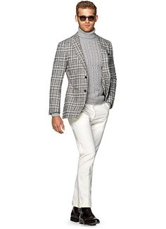 Pre-Order your Suitsupply Fall 2015 Jackets. Grey Blazer Outfit, Blazer Outfits, Sweater Outfits, Mode Masculine, Mens Roll Neck Sweater, Mens Fashion Suits, Man Fashion, Suit Supply, Tips
