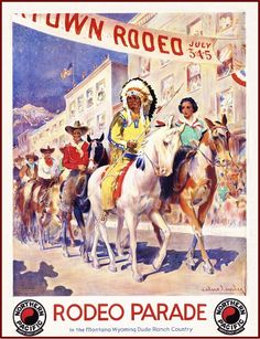 1930s Montana Wyoming Rodeo Parade Vintage Railroad Travel Advertisement Poster