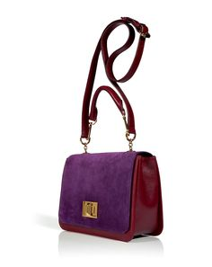 EMILIO PUCCI Ruby/Amethyst Combo Leather Shoulder Bag