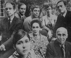 In Martha Graham's studio garden. Merce Cunningham, Erik Hawkins, Paul Taylor, Yvonne Rainer, Don Redlich, Twyla Tharp, Martha Graham, Jose Limon. ( From the New York Times, 1968, Jack Mitchell.)