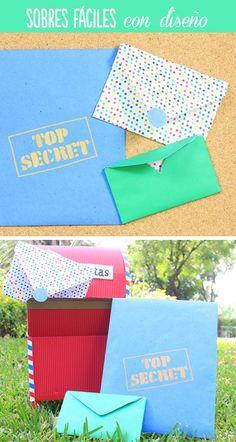 3 diseños de sobres muy fáciles para guardar tus cartas. Te enseño a hacerlos personalizados o con forma de corazón al abrirlo. ¡Están hermosos! Planners, Envelope, Crafting, Tutorials, Letters, Diy Crafts, Scrapbook, Templates, School