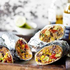 Burritos with black beans, sweetcorn and quinoa