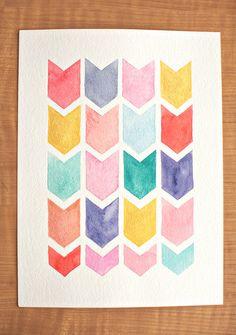 original chevron watercolor painting  -  geometric pattern - nursery artwork -  pink, orange, mint, turquoise, yellow, green. $30.00, via Etsy.