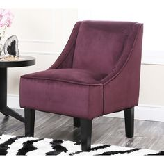 Abbyson Living Cameron Purple Suede Swoop Chair | Overstock.com Shopping - The Best Deals on Living Room Chairs