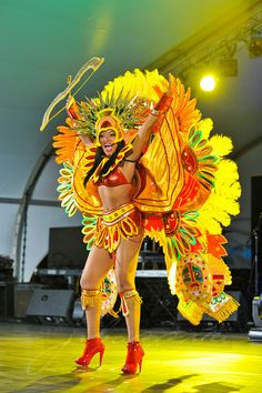 A participant in the Saint Kitts and Nevis National Carnival. (Saint Kitts and Nevis, Lesser Antilles, Caribbean)
