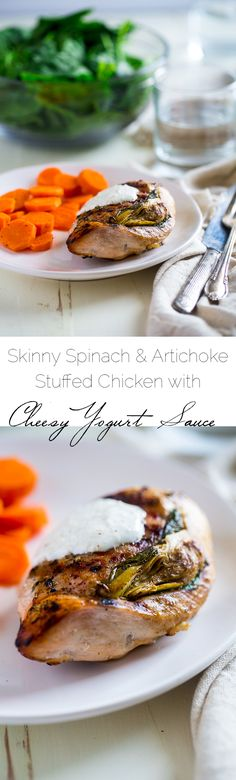 Spinach & Artichoke Stuffed Chicken Breast with Greek Yogurt Sauce - All the taste of your favorite dip in a low carb, gluten free, easy, and healthy weeknight meal that the whole family will love! | Foodfaithfitness.com | @FoodFaithFit