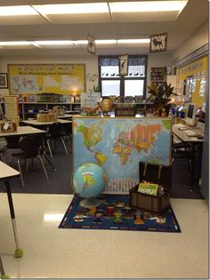 Geography, global, travel classroom decor-- have a where in the world center-- each week a new country