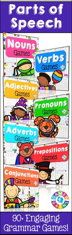 Looking for some fun, low-prep games to help your students practice identifying… Grammar Games, Grammar Activities, Educational Activities For Kids, Nouns And Pronouns, Adverbs, Prepositions, Part Of Speech Noun, Parts Of Speech Activities, Fun English Games