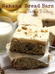 Banana Bread Bars with Brown Butter Frosting: The Recipe Critic.  A delicious treat to make with those over-ripe bananas.  The brown butter frosting absolutely amazing!