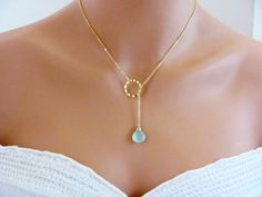 Gold Light Aqua Blue Summertime Poolside Lariat Necklace- gemstone, March birthstone, beach bridal jewelry, available in silver.