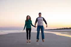 Florida beach engagement session - fun photo shot, plus that sunset! Love it.
