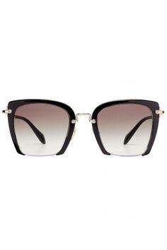 Miu Miu Miu Miu Rechteckige Oversize-Sonnenbrille Rasoir – Schwarz