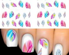 Stickers Decals Feather Nail Art Decorations Water Transfer Decal Nail Stickers For Nails Manicure Stickers Water Rainbow Bright Color -- AliExpress Affiliate's Pin. Find similar nail art items on AliExpress website by clicking the VISIT button. 3d Nail Art, Nail Art Hacks, Feather Nail Art, Nail Art Tools, Feather Nail Designs, Feather Print, Sticker Art, Nail Art Stickers, Nail Decals