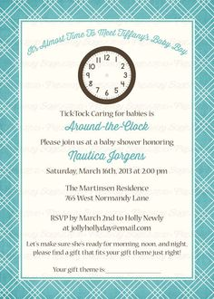 around the clock baby shower invitations by freshlysqueezedcards freshlysqueezedcards.etsy.com