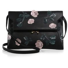 Marni Python-Flower Pochette (£1,170) ❤ liked on Polyvore featuring bags, handbags, clutches, apparel & accessories, coal, leather handbags, genuine leather purse, genuine leather handbags, python purse and snake skin purse