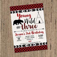 Young wild and three birthday Invitation, BOY birthday invitations, third 3rd birthday lumberjack birthday invites, printable invitation