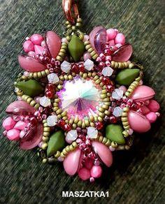 Pendant Design Inspiration featuring center rivoli, 2-hole diamonduo, seed beads, crystals+