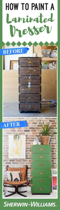 Take a laminated dresser from worn to wonderful in four steps with this intermediate DIY project.