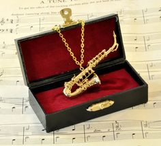 Saxophone Necklace in Case - Gold Alto Saxophone, Music, Instrument, Orchestra Saxophone Music, Saxophone Players, Tenor Sax, Clarinet, Violin, Cello, Music Necklace, Music Jewelry, Cute Jewelry