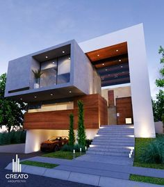Modern House Design & Architecture : CREATO Modern Architecture House, Modern Buildings, Modern House Design, Exterior Wall Panels, Model House Plan, Luxury Homes Dream Houses, Building Facade, Facade Design, Architect Design
