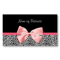 Trendy Black And White Leopard Print Pink Ribbon Business Card Template