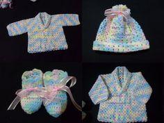 casaco, gorro e sapatinho para bebe