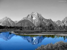 I love when a splash of color is added to black & white....especially when mountains are involved.