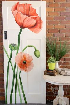 Acrylic painted Poppies on antique door by Artist - Dana Jensen. Painted on antique / vintage door painted in shabby chic style by I Restore Stuff. Available for Sale - Brisbane Australia.
