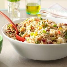 Whole Wheat Orzo Salad Recipe from Taste of Home | In less than 30 minutes, this hearty salad of pasta, white beans and veggies comes together.
