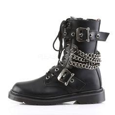 Demonia Men's DEFIANT-204 Men's Black Vegan Leather Goth Punk Combat Boots