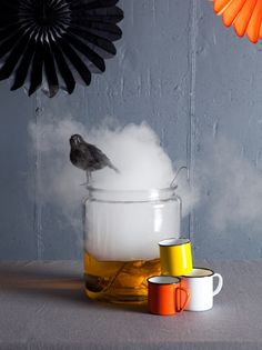 Apple cider with dry ice, like the raven.