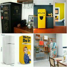 Que tal dar uma repaginada na cozinha? Uma dica interessante é o adesivo para geladeira. Que  transforma de forma simples e em conta deixando sua cozinha um ambiente  divertido e alegre.