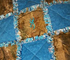Camo Camouflage Turquoise Baby Quilt Blanket but with some red or pink in it