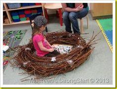 nests from grapevine wreaths - Unit Study - Birds - Tierwelt Preschool Science, Toddler Preschool, Preschool Projects, Nester, Prop Box, Tree Study, Outdoor Learning, Outdoor Play, Kindergarten