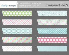 easter washi tape digital clip art spring washi by designscraps, $3.50