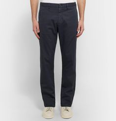 <a href='http://www.mrporter.com/mens/Designers/Ermenegildo_Zegna'>Ermenegildo Zegna</a> is known for its rich heritage and expert craftsmanship. Made from garment-dyed stretch-cotton in an easy-to-wear straight-leg shape, these navy trousers are a solid example of both. The depth of colour ensures versatility and details like the notched waistband increase comfort.