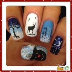 Snowy night, reindeer, holiday, winter nails 2013