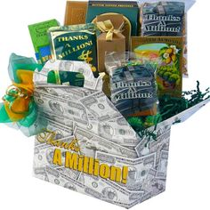 xyz Art of Appreciation Gift Baskets Thanks A Million Gable Gift Box of Snacks and Treats Thank You Gift Baskets, Thank You Gifts, Gourmet Gifts, Food Gifts, Birthday Gifts For Brother, Birthday Gift Baskets, Coffee Gifts, Grandpa Gifts, Graduation Gifts